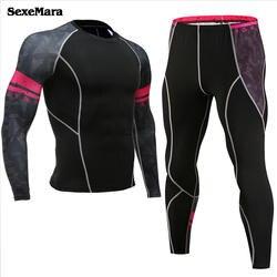 SexeMara Для мужчин; комплекты термобелья сжатия кальсоны работает и бодибилдинг Йога Колготки Фитнес спортивный комплект костюм