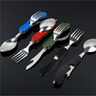 Camping Pocket Folding knife Portable MultiFunction Durable 4 in 1 Stainless Steel Camping Travel Picnic Cutlery Outdoor Tools