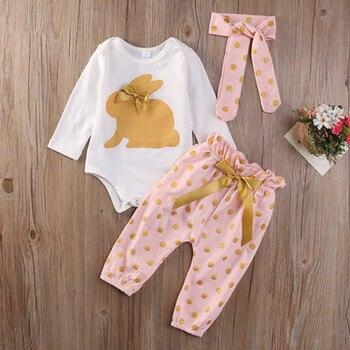 3Pcs new cute Newborn Infant Baby Girls  clothes  Summer rabbit  long sleeve bodysuit  bow   Playsuit Pants Outfits Set