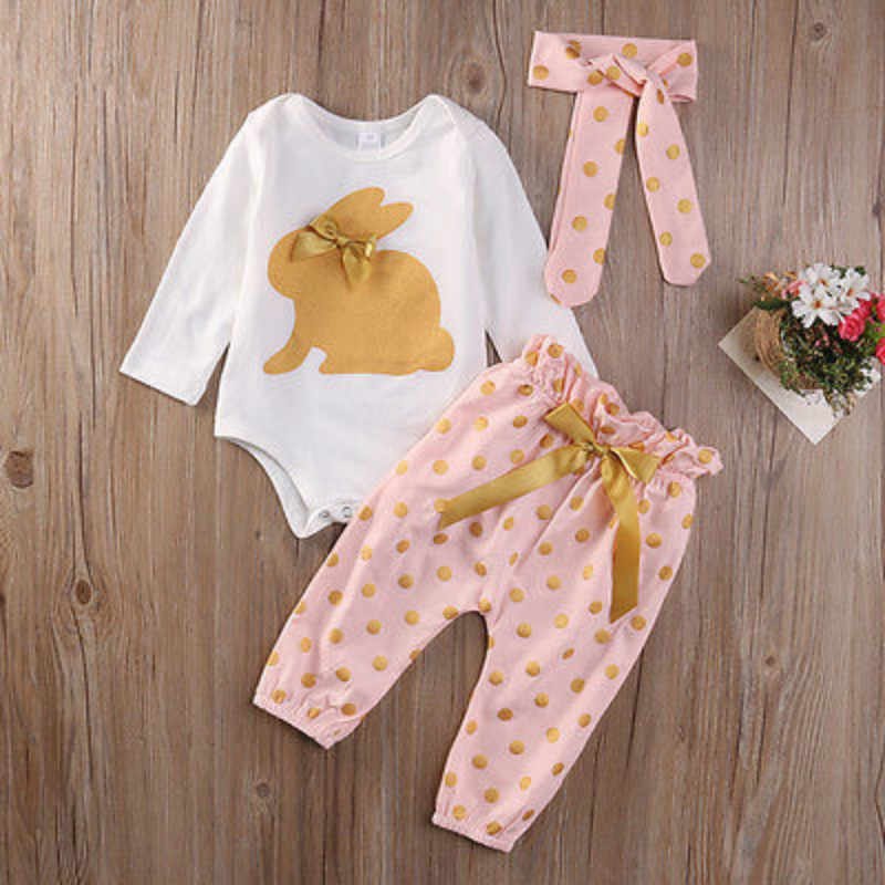 3Pcs new cute Newborn Infant Baby Girls  clothes  Summer rabbit  long sleeve bodysuit  bow   Playsuit Pants Outfits Set
