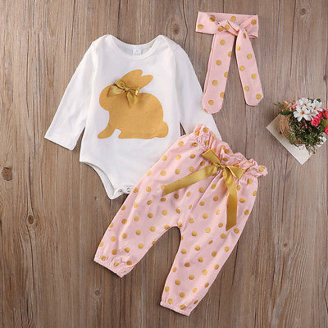 3 Pcs החדש חמוד יילוד תינוקות תינוק בנות בגדי קיץ ארנב ארוך שרוול בגד גוף קשת Playsuit מכנסיים תלבושות סט