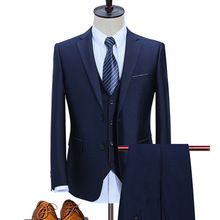 2019 Blue Mens High Quality Suits Slin Fit Business Wedding Men One Button Custom 3 Pieces Jacket Vest Pants