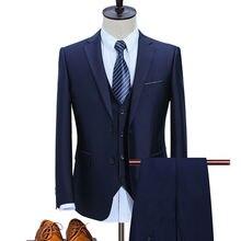 2019 мужские высококачественные синие костюмы slin fit для деловых