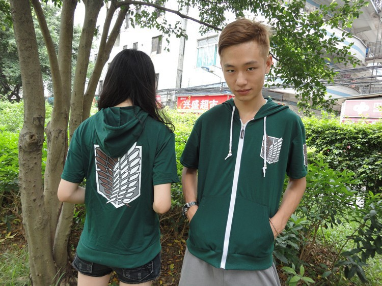 2014  Short Anime Attack on Titan Cosplay Hoodie Scouting Legion Summer Hoody