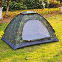 T06 Outdoor PU1000mm Rainfly Camping Tent for 1 2 / 3 4 person Single Layer Portable Polyester Beach Fsihing Tents Camouflage