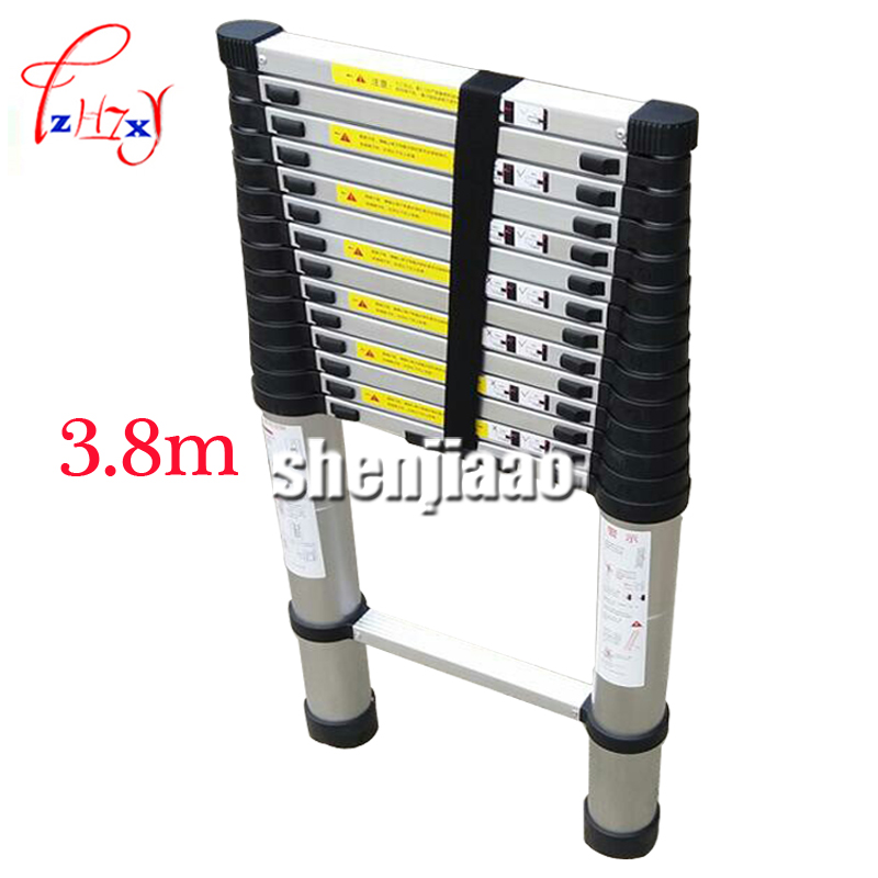 Portable Telescopic Ladder With Board 3.8 m Thickening Aluminum Alloy Multipurpose Folding Stairs One Ladder Word