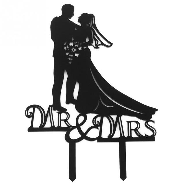 3b03f213ee54 Black Romantic Cake Topper Kissing Couple Bride and Groom Mr.   Mrs  Silhouette Monogram Acrylic Wedding Cake Topper