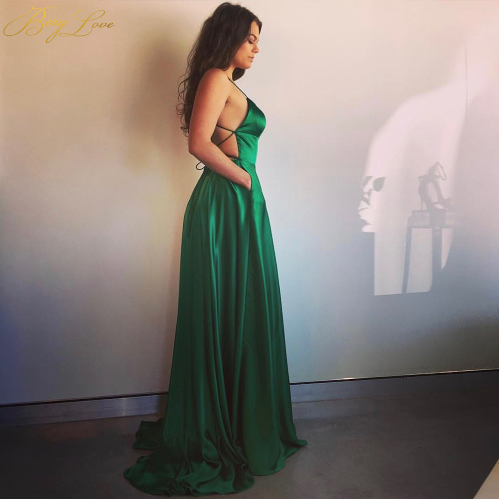 Sexy Emerald Green Evening Dress 2019 Backless Prom Dress High Slit Evening Gowns Prom Party Dress Straps Abiye Robe Femme