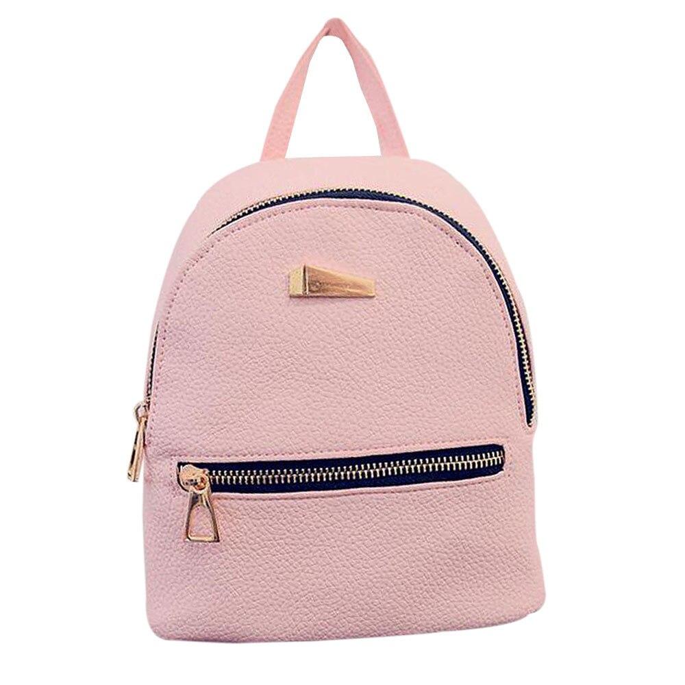 font b Women b font leather backpack Hit color feminine school font b bags b