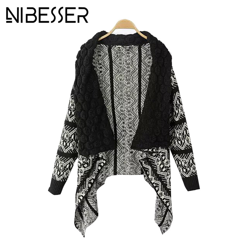 NIBESSER Women Sweaters Cardigans Lapel Collar Jumper Ponchos Coats 2018 Fashion Antumn Irregular Geometric Vintage Sweaters ...