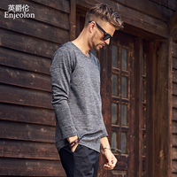 Enjeolon marka kalite o boyun uzun kollu t gömlek adam pamuk 2 renk katı baz Giyim Üstleri Tee ücretsiz gemi RST8066-1