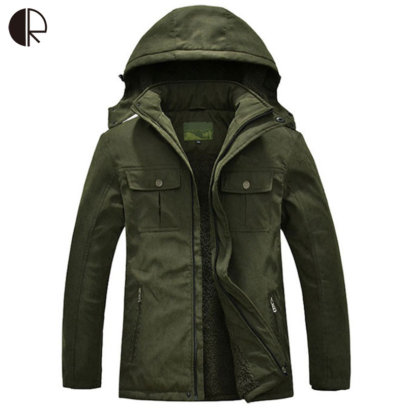 Free Shipping 2015 New Arrive Men's Hooded Jacket Army Green Warm Winter Coat Thickened Coat Large Size XL-7XL, MC274 Wholesale kn 33 women s winter wear stylish thickened warm hooded down jacket coat army green l