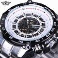 Winner Black Dial Skeleton Mens Watches Top Brand Luxury Stainless Steel Sport Watch Montre Homme Clock Men Erkek Kol Saati