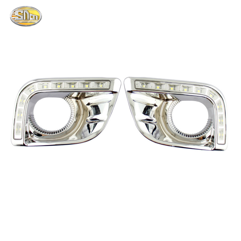 SNCN Led Daytime Running Light for Toyota Prado FJ150 LC150 2010 2011 2012 2013 Land Cruiser 2700/4000 LED DRL fog lamp cover car stlying 12v led daytime running light drl fog lamp decoration for toyota prado 2008 2009 2010 2011 2012 2013 2014 2015 2pcs