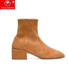 d1a36eaed Ботинки из нубука, кашемировые короткие ботинки, женские классические  грубые и эластичные носки, Ботинки на каблуке 5 см, желтые.