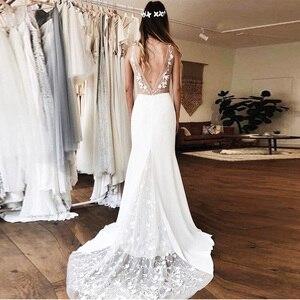Image 3 - Sexy głębokie dekolt w serek suknie ślubne syrenka biała kość słoniowa 3D koronkowa szata De Maria Backless kaplica pociąg Vestido De Noiva Custom Made