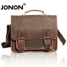 JONON Cowhide Men Messenger Bags Breifcase Men Clutch Famous Brands Vintage Crossbody Bag Bolsos School Bags Dollar Price WHB083