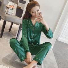 Silk Sleepwear Pajama-Set Plus-Size Night-Suit Two-Piece-Set Women Autumn