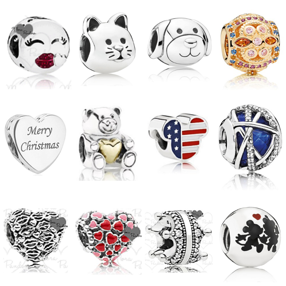 NEW 2018 New 925 Sterling Silver & Rose Crystal Valentines Day Christmas Charms Bead Fit Bracelets DIY Factory WholesaleNEW 2018 New 925 Sterling Silver & Rose Crystal Valentines Day Christmas Charms Bead Fit Bracelets DIY Factory Wholesale
