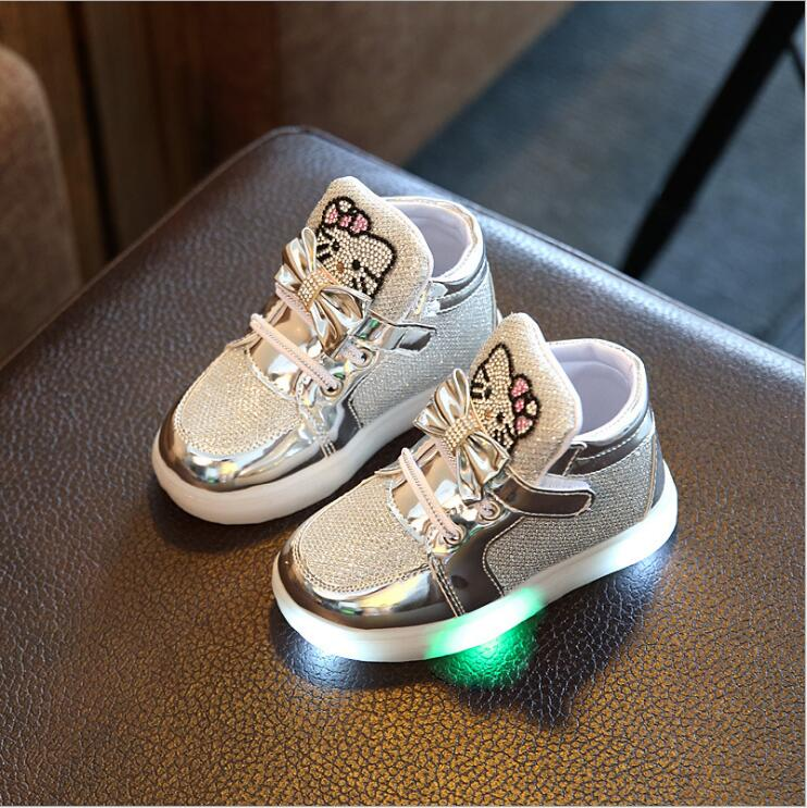 New Cartoon Cat Diamond Princess Girls Sports Shoes Autumn-Winter Cartoon LED Sneakers Korean Children High Top Boots Kids Shoes