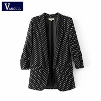 Vangull Spring new European polka dot fashion women blazer 2018 New high Quality casual lady's small suit coat