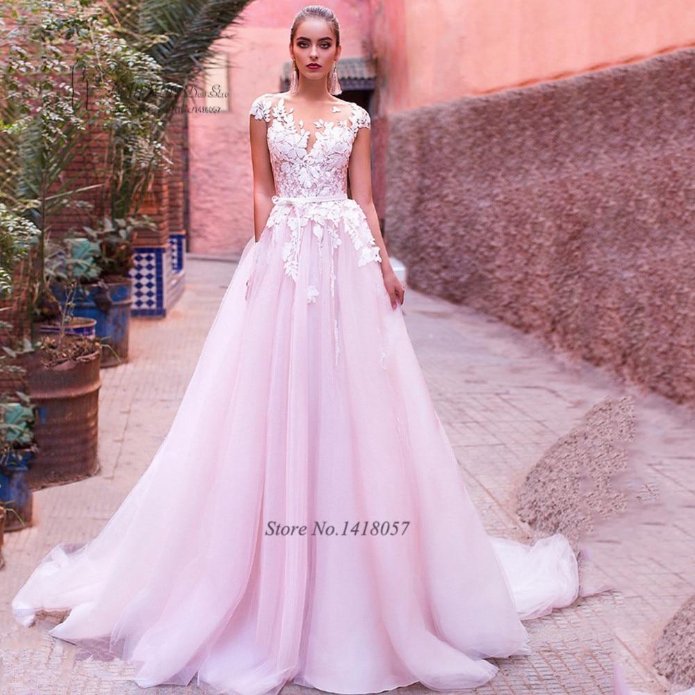 Vintage Pink Wedding Dress 2017 Vestido De Noiva Princess