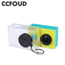 Capa protetora para câmera de xiaomi yi, capa transparente de proteção com tampa de lente para xiaomi yi action camera