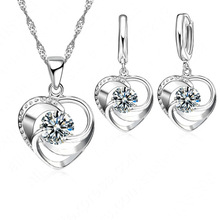 925 Sterling Silver Heart Pendant Necklace/Earrings