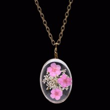 2016 Trendy 90's Real Dried Flowers Embedded Antique Bronze Plated Chain Floating Locket Glass Necklace For Women Girls