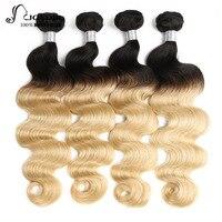 Joedir бразильский Средства ухода за кожей волна 4 Связки сделки 100% Человеческие волосы Weave Связки T1B/613 Волосы Remy расширения Бесплатная доставк
