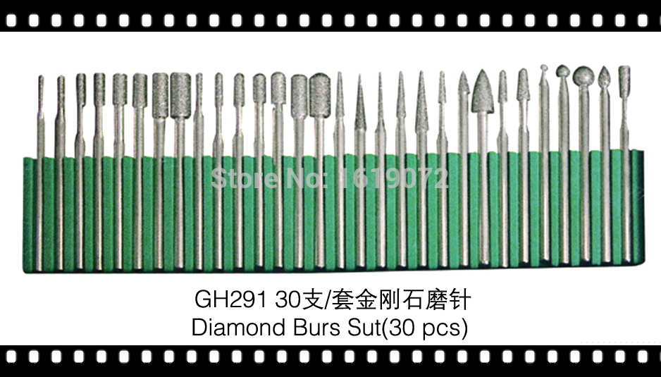 FREE SHIPPING 30 DIAMOND BURS SET 1/8 INCH SHANK MEDIUM GRIT LAPIDARY JEWELERS ROTARY BITS DREMEL
