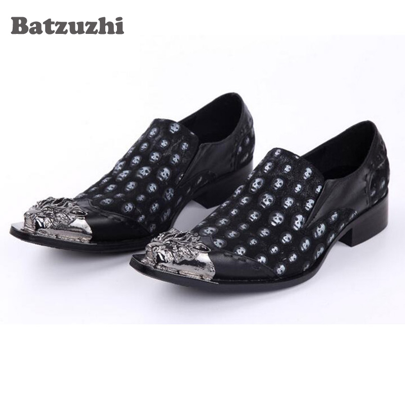 Italian Luxury Men Shoes Pointed Toe Sliver Metal Skull Leather Loafers Shoes Men Black Leather Men's Flats, Size US12 choudory new winter men ankle italian shoes men leather shoes pointed toe mens black dress shoes sequined toe spiked loafers men