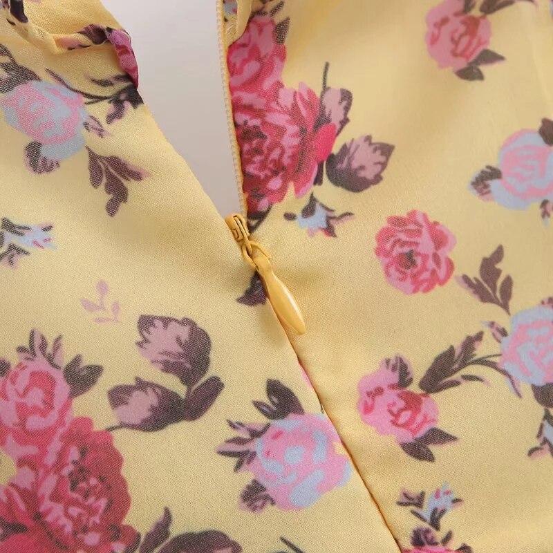 Image 5 - Letnia sukienka 2019 w stylu boho w kwiaty sukienka z nadrukiem kobiety sexy lace up bow żółta sukienka kobieta casual koreańskie ubrania party dress vestidos w Suknie od Odzież damska na