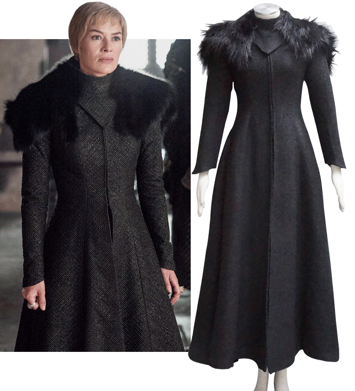 Game of Thrones Season 7 Queen Costume Cersei Lannister Cosplay Dress Coat Cape