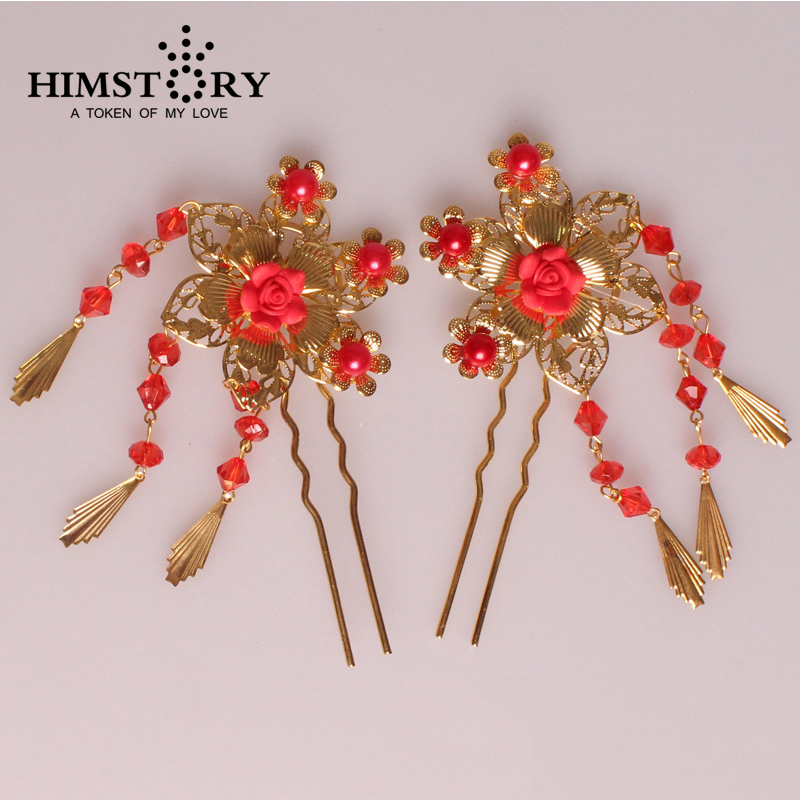 Hot Sale Bride Hair Stick Bridal Hairwear Chinese Style Tassel Red Wedding Hair Accessories Costume Bridal Tiaras