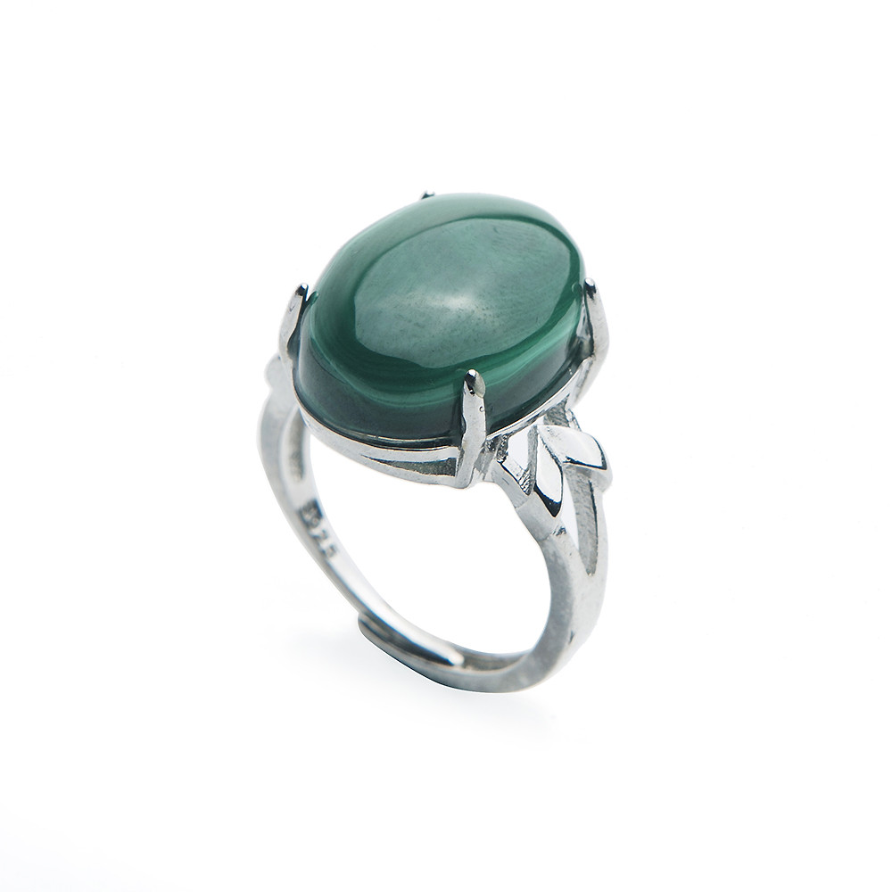 Green Jewelry Rings Natural Malachite Chrysocolla Crystal Gems Stone Beads Ring For Women Adjustable
