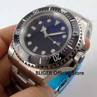 Solide BLIGER 44 MM Schwarz Blau Sterile Zifferblatt Keramik Lünette Mechanische Uhr Luminous Marks Automatische Bewegung herren Uhr B71