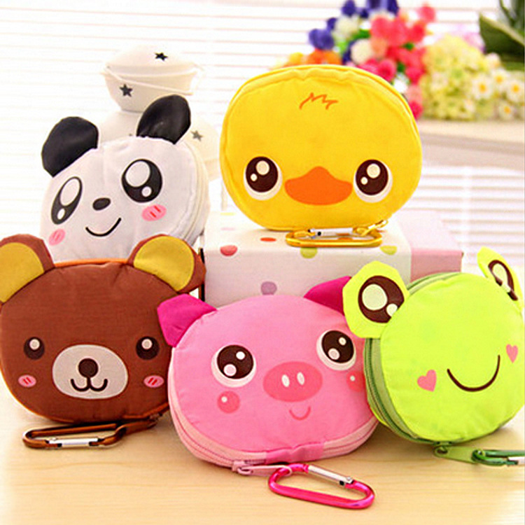 Free shipping 2016 <font><b>japanese</b></font> style big head animal <font><b>shopping</b></font> <font><b>bag</b></font> <font><b>folding</b></font> portable super large green eco-friendly <font><b>bag</b></font> 100pcs image