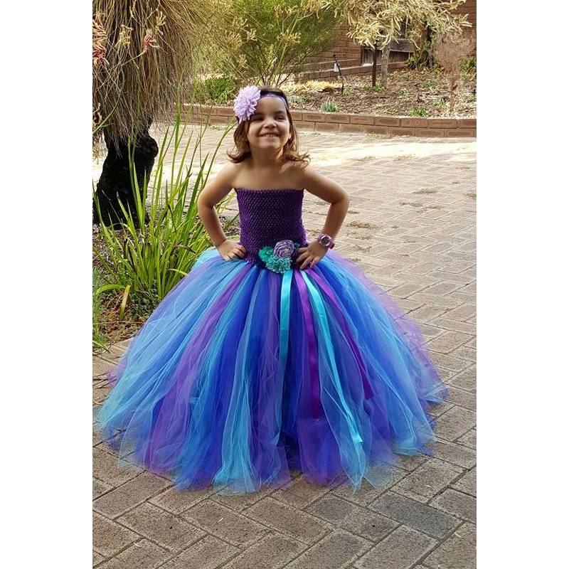 Girls Peacock Tutu Dress Flower Girl Dress for Photo Prop Baby Girl Clothes with Headband Kids Full Length Carnival Party Dress