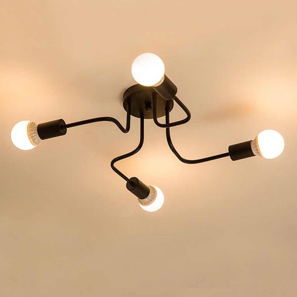 Modern Chandelier Lighting 4 Head Black E27 Chandeliers Lamp LED Pendant Hanging Light Lamp Restaurant Light For Living Room