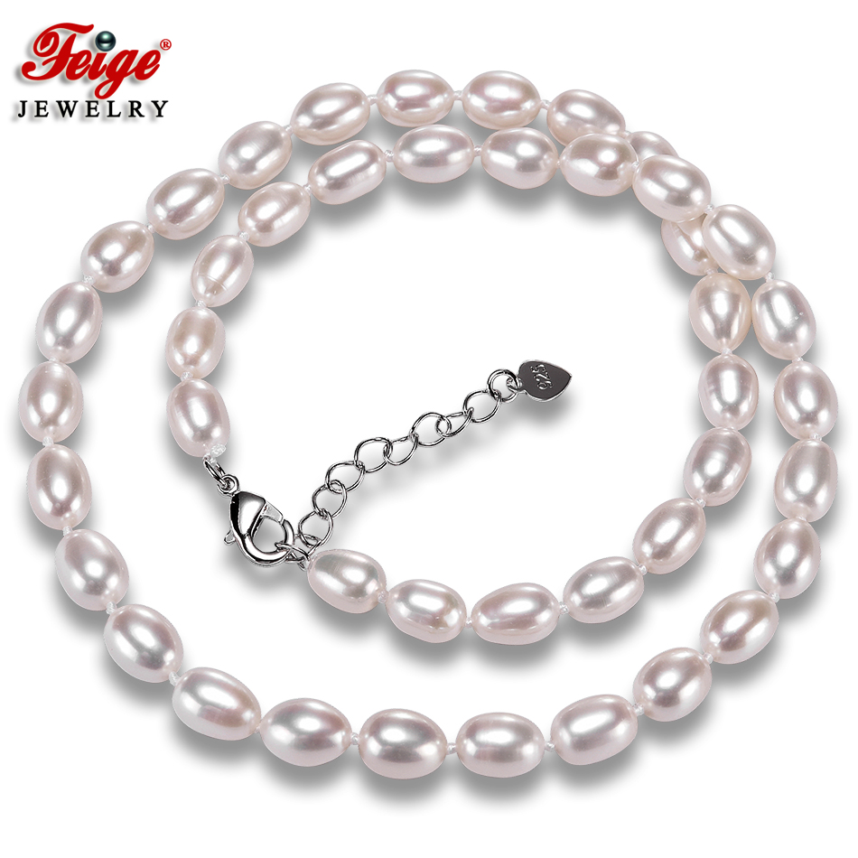 Natural White Rice Shape Pearl Necklaces For Women 7-8MM Freshwater Pearls Chorker Necklace Fine Jewelry FEIGE