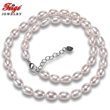 Natural White Rice Shape Pearl Necklaces for Women 7-8MM Freshwater Pearls Chorker Necklace Fine Jewelry FEIGE [zhixi] maxi natural pearl necklace fine jewelry white natural freshwater pearl chokers necklaces women gift for new year r13