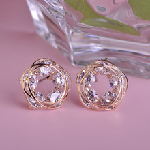 Shining Stud Rhinestone Earrings Prong Setting CZ Zirconia Round Copper Earring Fashion Pendientes Korean Style Free Shipping