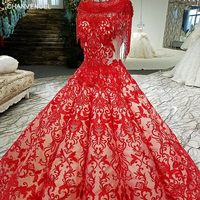 LS21047 Red Color Lace Off Shoulder Tassel Short Sleeves Original Design Evening Dress 2018 New Arrival