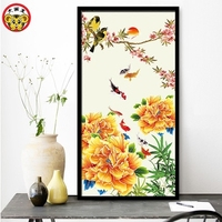 Fish Lotus Chrysanthemum Chinese Wind Painting DIY Digital Oil Painting Porch Large Living Room Chinese Decorative