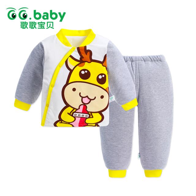 Recém-nascidos Meninas Bonitos Do Bebê Roupas de Inverno Definir Animais de Algodão Menino Infantil Roupa Roupas Terno Moda Cervos Para As Crianças Manga Longa