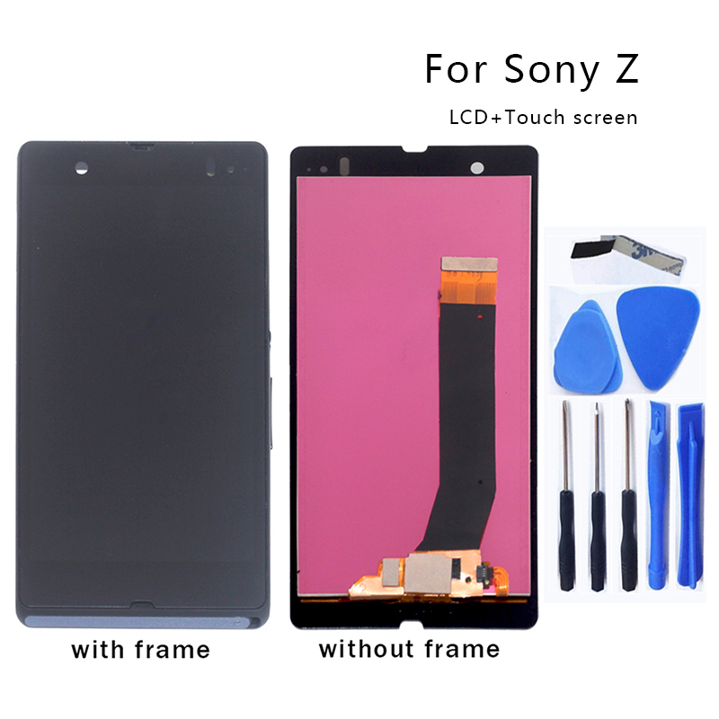 For Sony Xperia Z L36H LCD Digital Converter Glass Panel Assembly for Sony Xperia Z C6603 C6602 Display LCD Monitor Free Tool-in Mobile Phone LCD Screens from Cellphones & Telecommunications