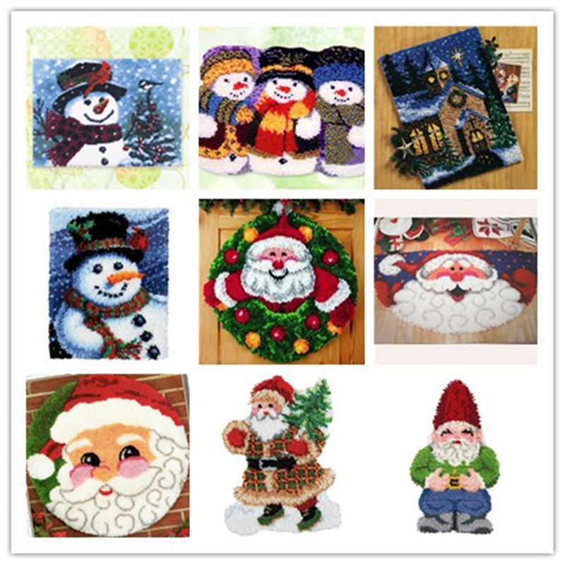 Latch Hook Kit Rug Cushion Pillow Mat DIY Christmas 52CM Length Cross Stitch Needlework Crocheting Rug Embroidery