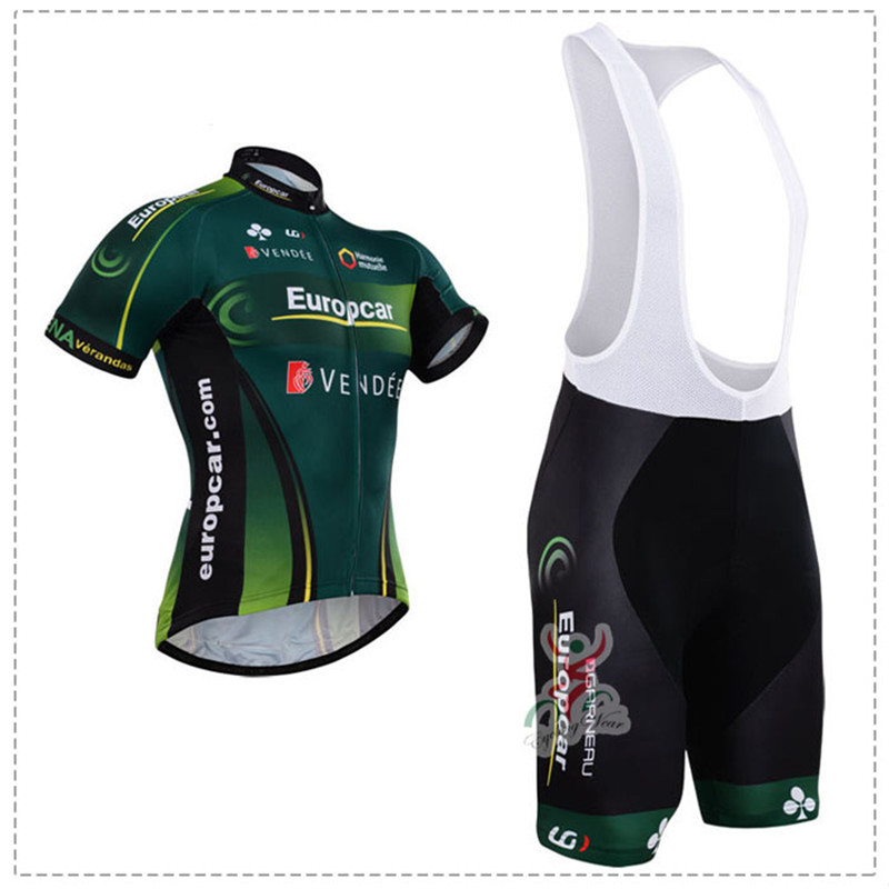 green color europcar 2017 Cycling team jersey bike shorts set Ropa Ciclismo mens Summer Pro Team cycling wear Free Shipping