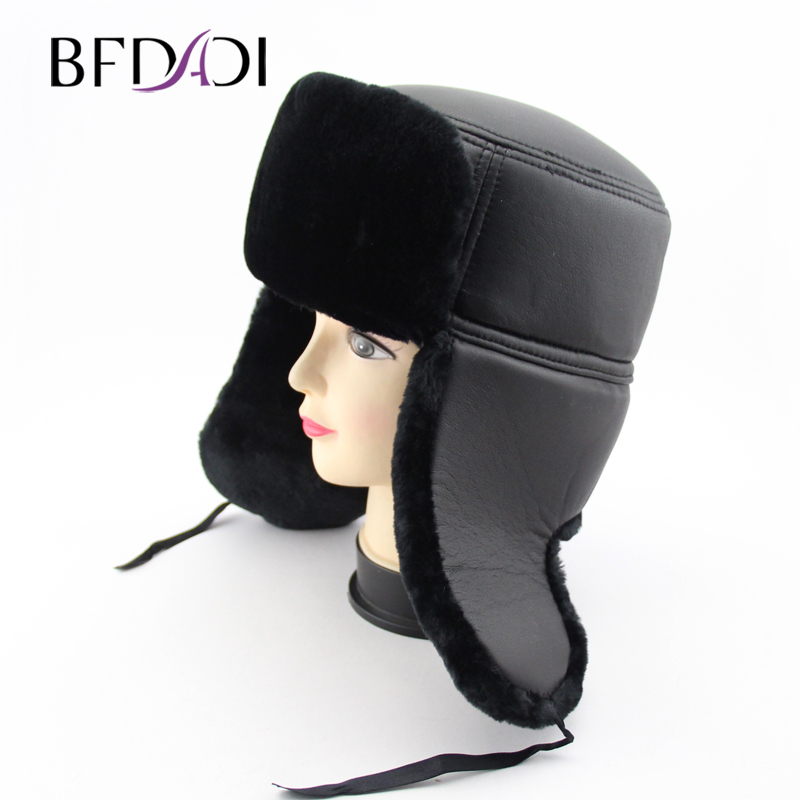 BFDADI Bomber Hats Faux-Fur-Hat Ear-Flaps-Cap Russian Winter Women Warm for Big-Size